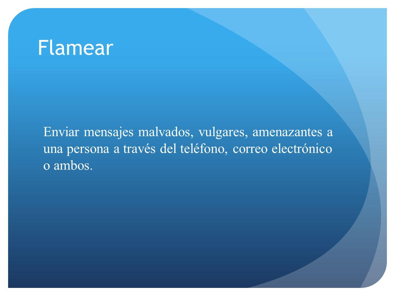 Enviar mensajes malvados, vulgares, amenazantes a una persona a través del teléfono, correo electrónico o ambos. Flamear