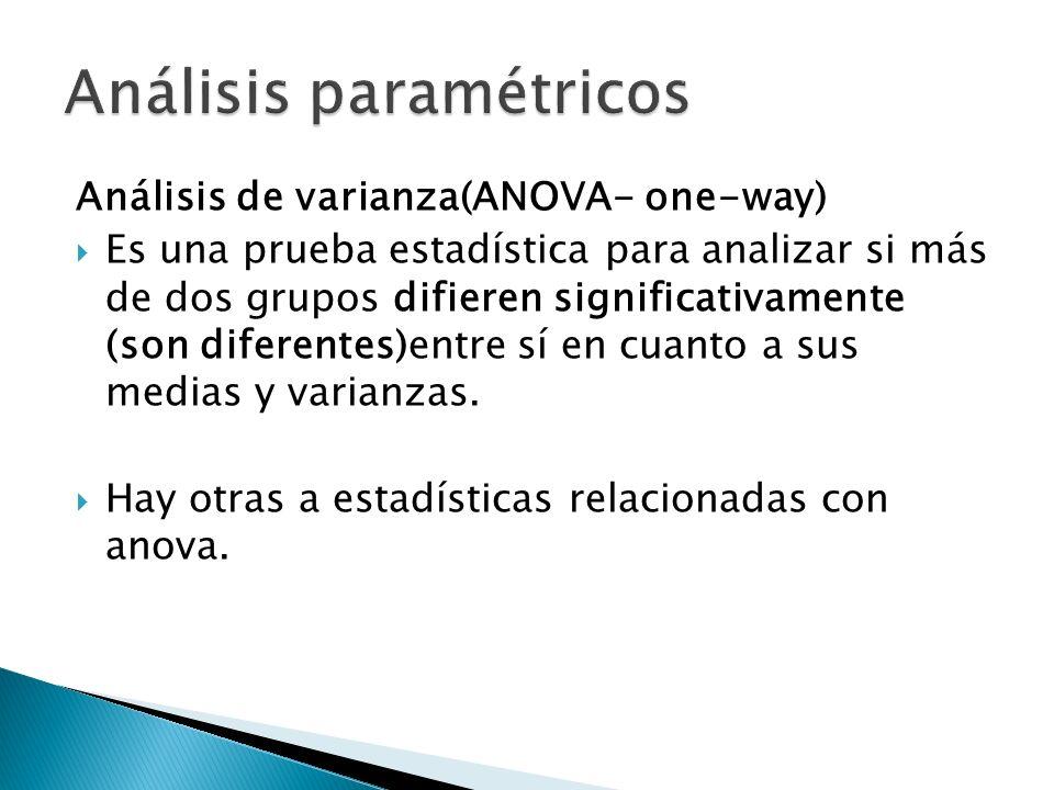 Análisis de varianza(ANOVA- one-way) Es una prueba estadística para analizar si más de dos grupos difieren significativamente (son diferentes)entre sí en cuanto a sus medias y varianzas.