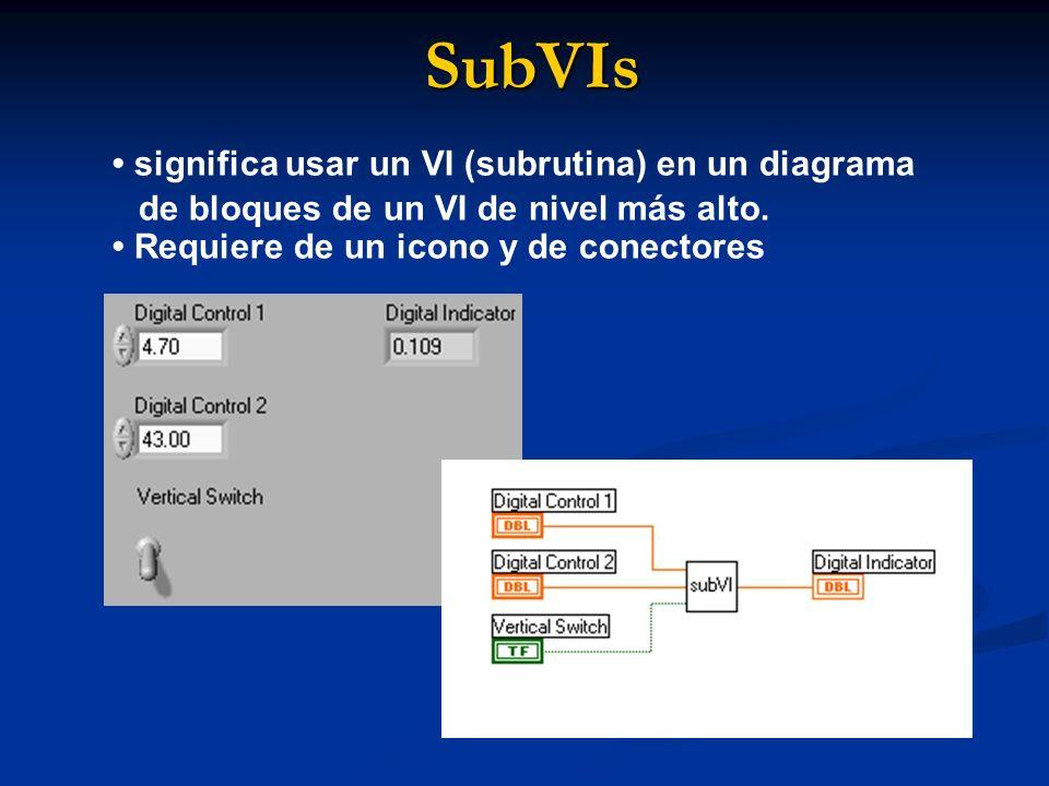 SubVIs significa usar un VI (subrutina) en un diagrama de bloques de un VI de nivel más alto. Requiere de un icono y de conectores