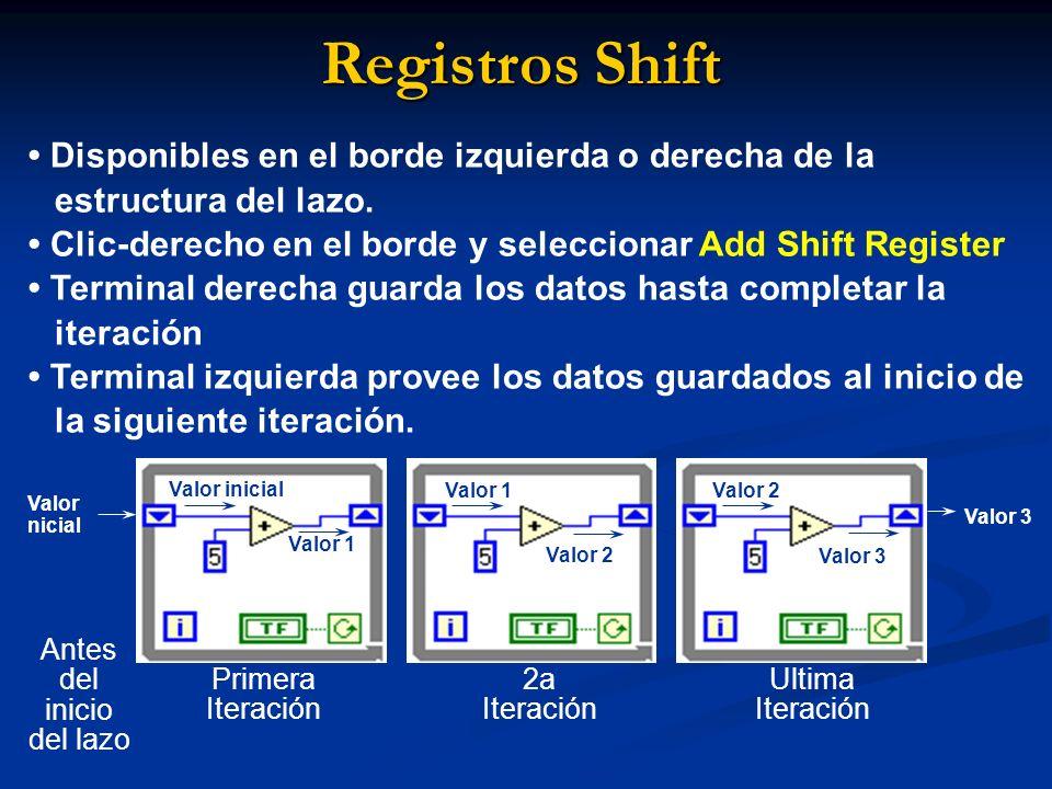 Registros Shift Disponibles en el borde izquierda o derecha de la estructura del lazo. Clic-derecho en el borde y seleccionar Add Shift Register Termi