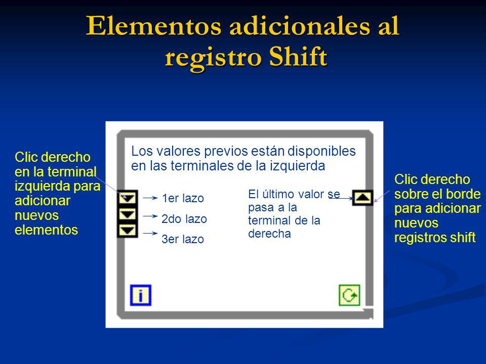 Elementos adicionales al registro Shift El último valor se pasa a la terminal de la derecha Clic derecho en la terminal izquierda para adicionar nuevos elementos Los valores previos están disponibles en las terminales de la izquierda Clic derecho sobre el borde para adicionar nuevos registros shift 1er lazo 2do lazo 3er lazo