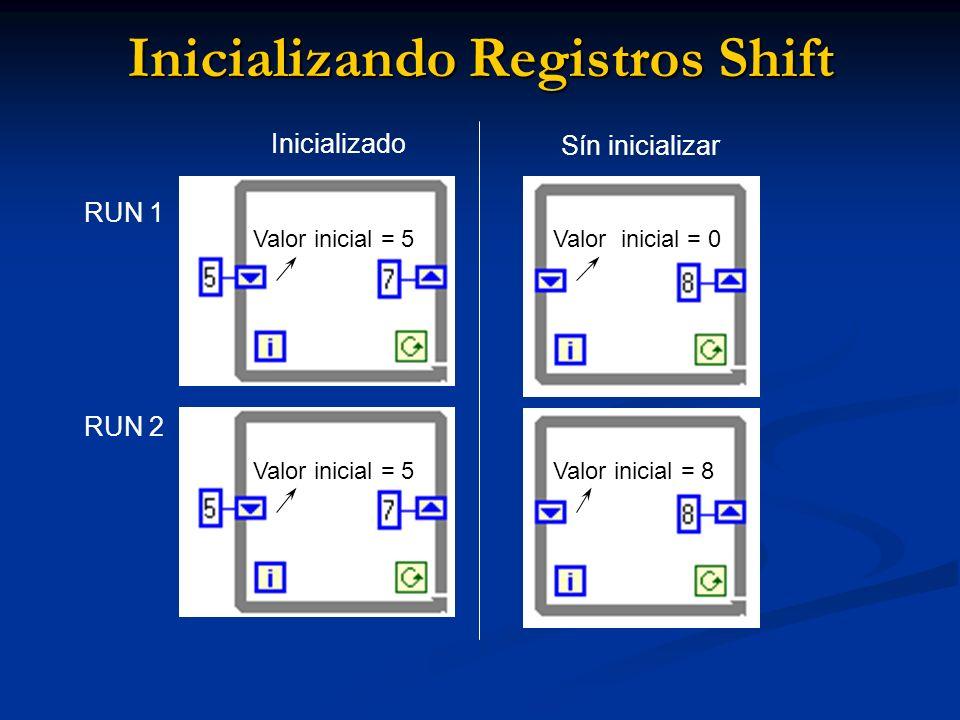 Inicializando Registros Shift RUN 1 RUN 2 Valor inicial = 5 Inicializado Sín inicializar Valor inicial = 5 Valor inicial = 0 Valor inicial = 8