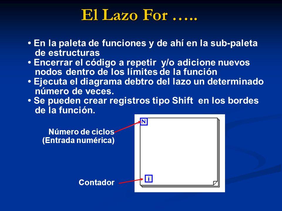 El Lazo For ….. En la paleta de funciones y de ahí en la sub-paleta de estructuras Encerrar el código a repetir y/o adicione nuevos nodos dentro de lo