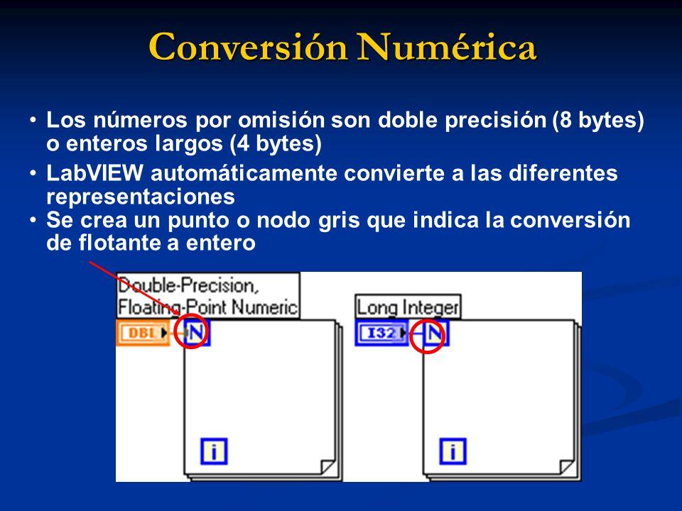 Conversión Numérica Los números por omisión son doble precisión (8 bytes) o enteros largos (4 bytes) LabVIEW automáticamente convierte a las diferentes representaciones Se crea un punto o nodo gris que indica la conversión de flotante a entero