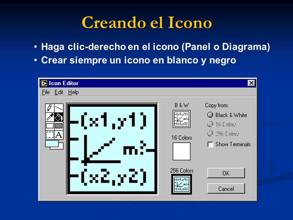 Creando el Icono Haga clic-derecho en el icono (Panel o Diagrama) Crear siempre un icono en blanco y negro