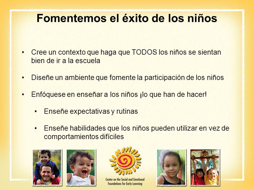Fomentemos el éxito de los niños Cree un contexto que haga que TODOS los niños se sientan bien de ir a la escuela Diseñe un ambiente que fomente la pa