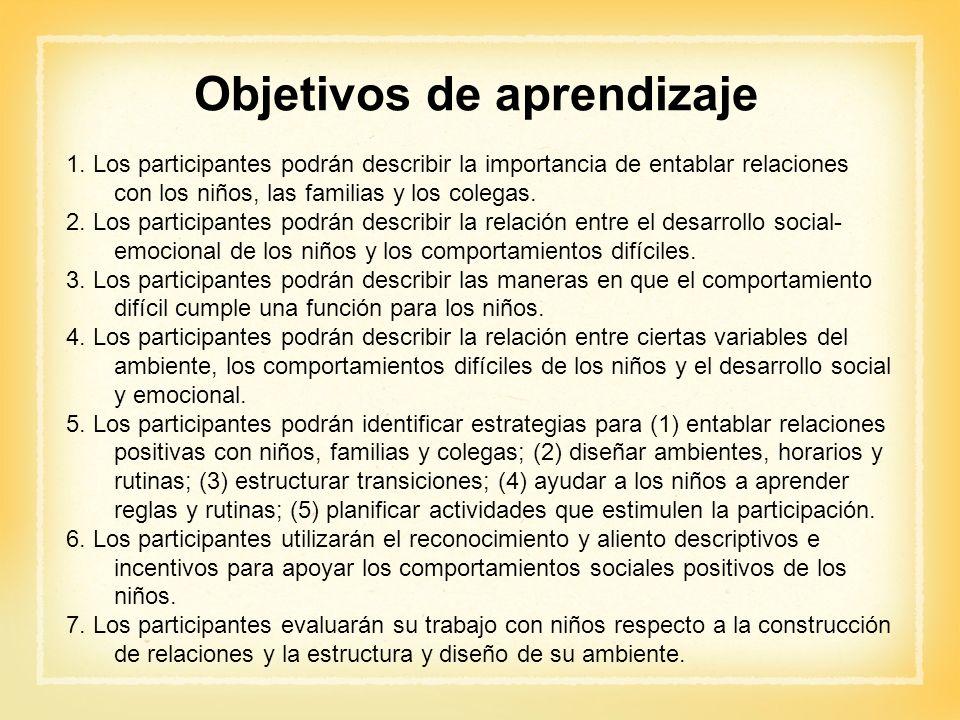 1. Los participantes podrán describir la importancia de entablar relaciones con los niños, las familias y los colegas. 2. Los participantes podrán des