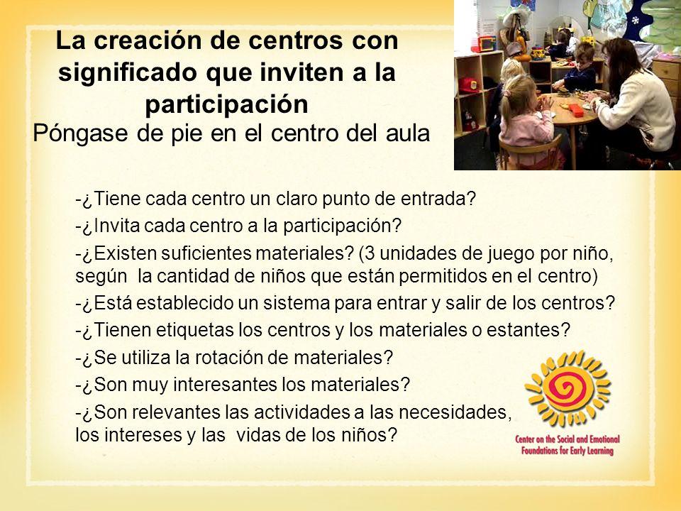 La creación de centros con significado que inviten a la participación Póngase de pie en el centro del aula -¿Tiene cada centro un claro punto de entra