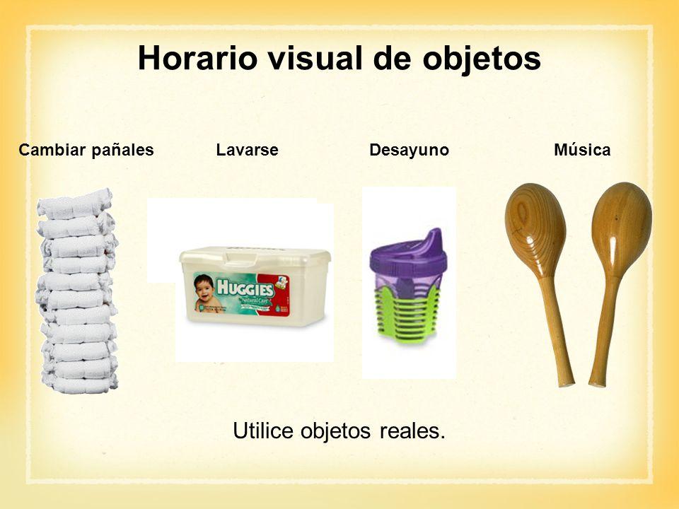 Cambiar pañales Lavarse Desayuno Música Utilice objetos reales. Horario visual de objetos