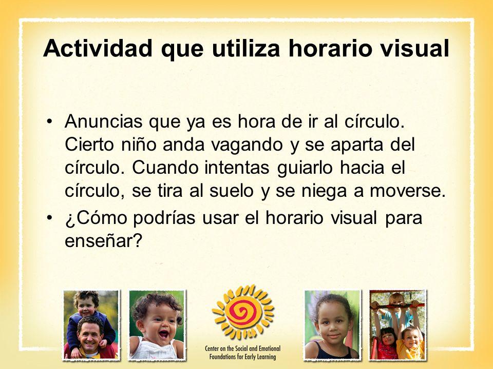 Actividad que utiliza horario visual Anuncias que ya es hora de ir al círculo. Cierto niño anda vagando y se aparta del círculo. Cuando intentas guiar