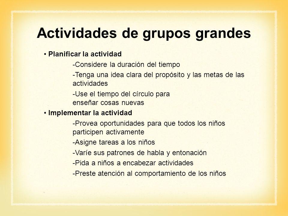 Actividades de grupos grandes Planificar la actividad -Considere la duración del tiempo -Tenga una idea clara del propósito y las metas de las activid