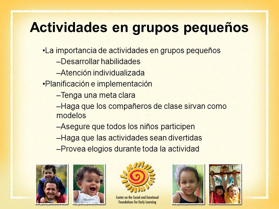 Actividades en grupos pequeños La importancia de actividades en grupos pequeños –Desarrollar habilidades –Atención individualizada Planificación e imp