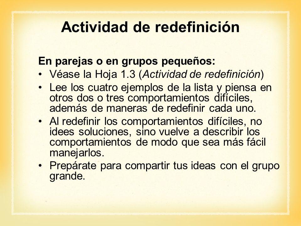 Actividad de redefinición En parejas o en grupos pequeños: Véase la Hoja 1.3 (Actividad de redefinición) Lee los cuatro ejemplos de la lista y piensa