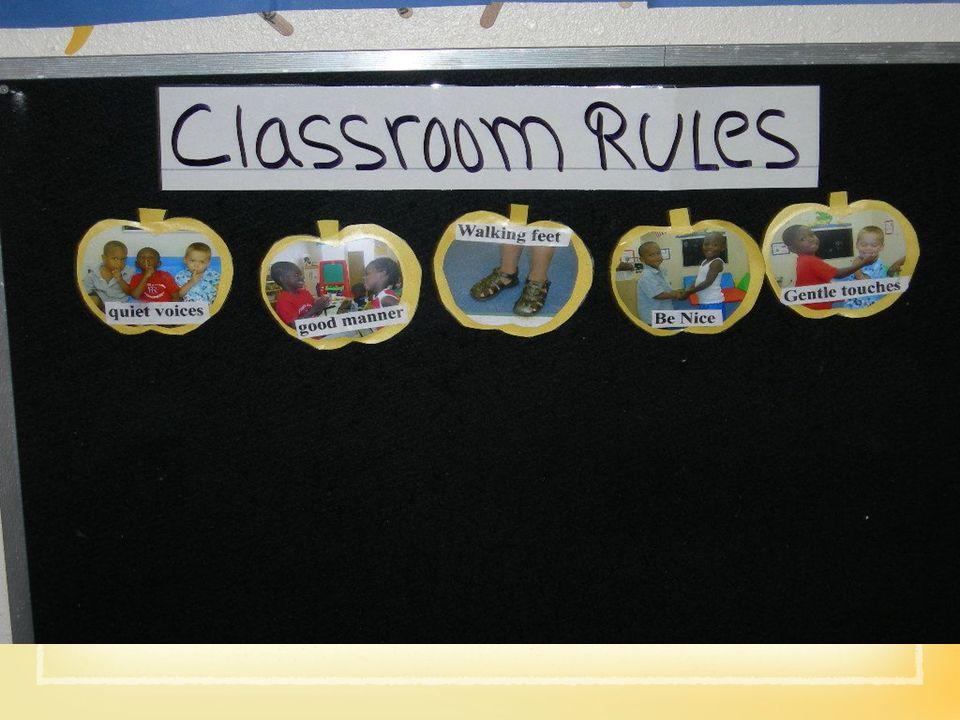 Las reglas Deben tratar -El nivel de sonidos -El movimiento dentro del salón -Las interacciones con la propiedad -Las interacciones con los adultos -Las interacciones con los compañeros