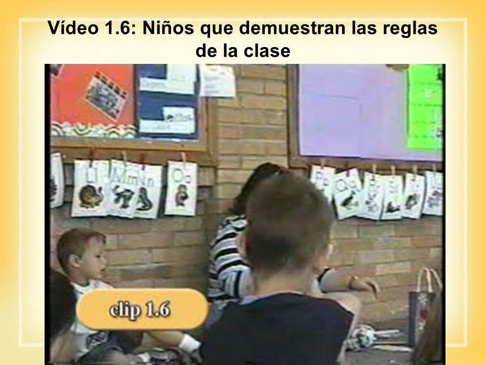 Vídeo 1.6: Niños que demuestran las reglas de la clase