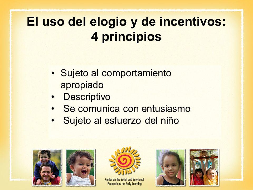 El uso del elogio y de incentivos: 4 principios Sujeto al comportamiento apropiado Descriptivo Se comunica con entusiasmo Sujeto al esfuerzo del niño