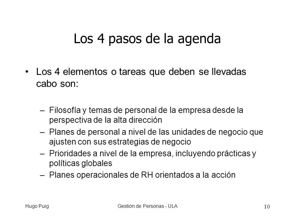 Hugo PuigGestión de Personas - ULA 10 Los 4 pasos de la agenda Los 4 elementos o tareas que deben se llevadas cabo son: –Filosofía y temas de personal de la empresa desde la perspectiva de la alta dirección –Planes de personal a nivel de las unidades de negocio que ajusten con sus estrategias de negocio –Prioridades a nivel de la empresa, incluyendo prácticas y políticas globales –Planes operacionales de RH orientados a la acción