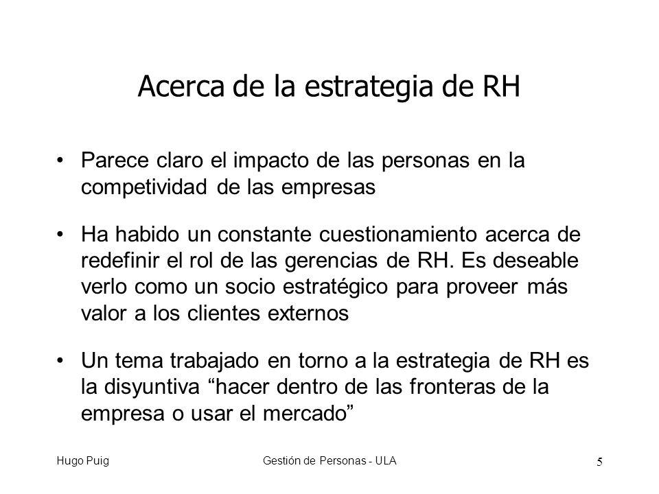Hugo PuigGestión de Personas - ULA 6 Acerca de la estrategia de RH No obstante no se ha trabajado mucho acerca de una agenda para RH para que contribuya al crecimiento de los negocios de la empresa Las empresas tienen alternativas para crecer Las prácticas de RH juegan un papel clave en crear un fuerte alineamiento de la conducta respecto del patrón de crecimiento del negocio que se haya seleccionado