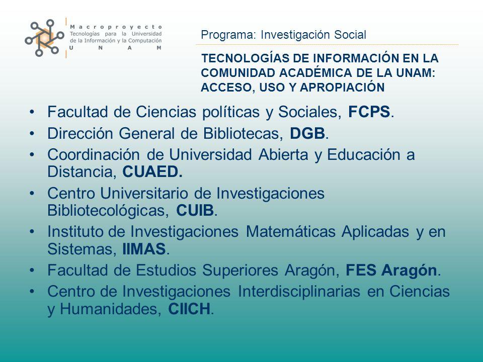 Programa: Investigación Social TECNOLOGÍAS DE INFORMACIÓN EN LA COMUNIDAD ACADÉMICA DE LA UNAM: ACCESO, USO Y APROPIACIÓN Facultad de Ciencias polític