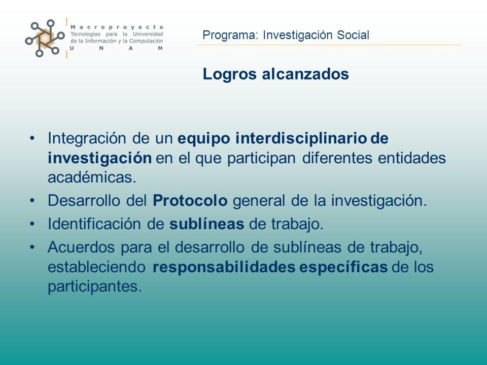 Programa: Investigación Social Logros alcanzados Integración de un equipo interdisciplinario de investigación en el que participan diferentes entidade