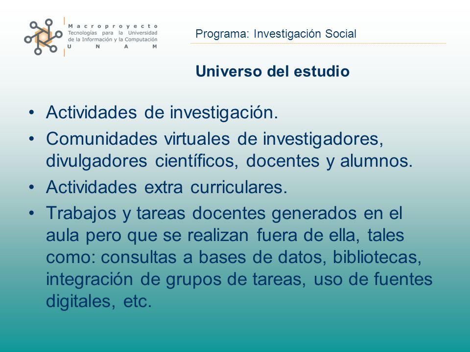 Programa: Investigación Social Universo del estudio Actividades de investigación. Comunidades virtuales de investigadores, divulgadores científicos, d