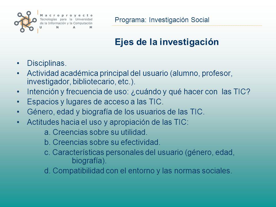 Programa: Investigación Social Ejes de la investigación Disciplinas. Actividad académica principal del usuario (alumno, profesor, investigador, biblio