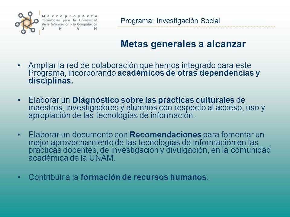 Programa: Investigación Social Metas generales a alcanzar Ampliar la red de colaboración que hemos integrado para este Programa, incorporando académic