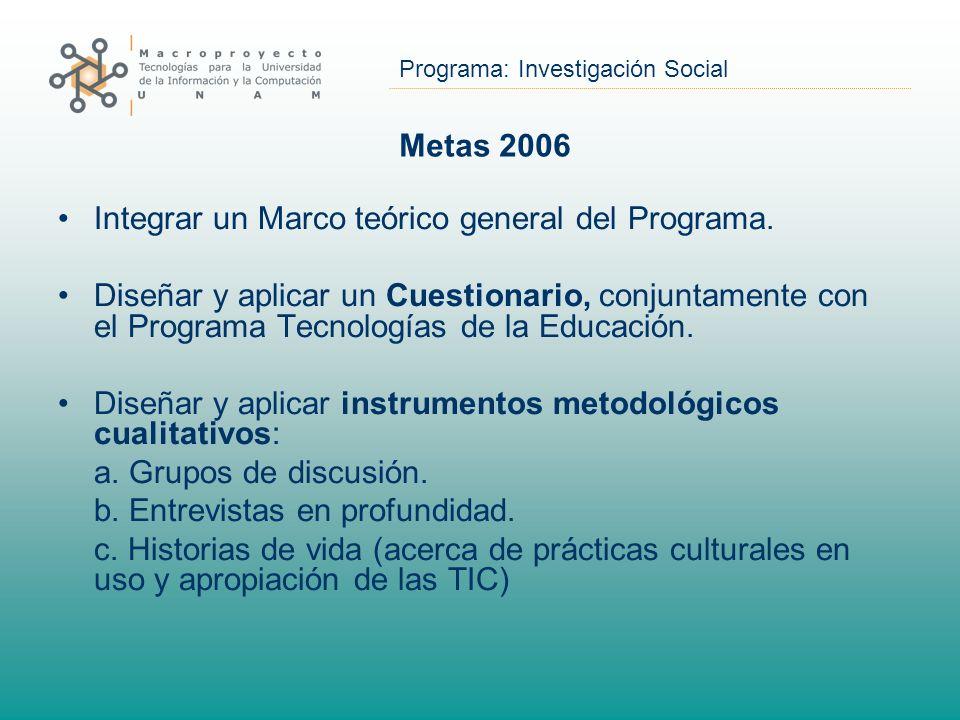 Programa: Investigación Social Metas 2006 Integrar un Marco teórico general del Programa. Diseñar y aplicar un Cuestionario, conjuntamente con el Prog