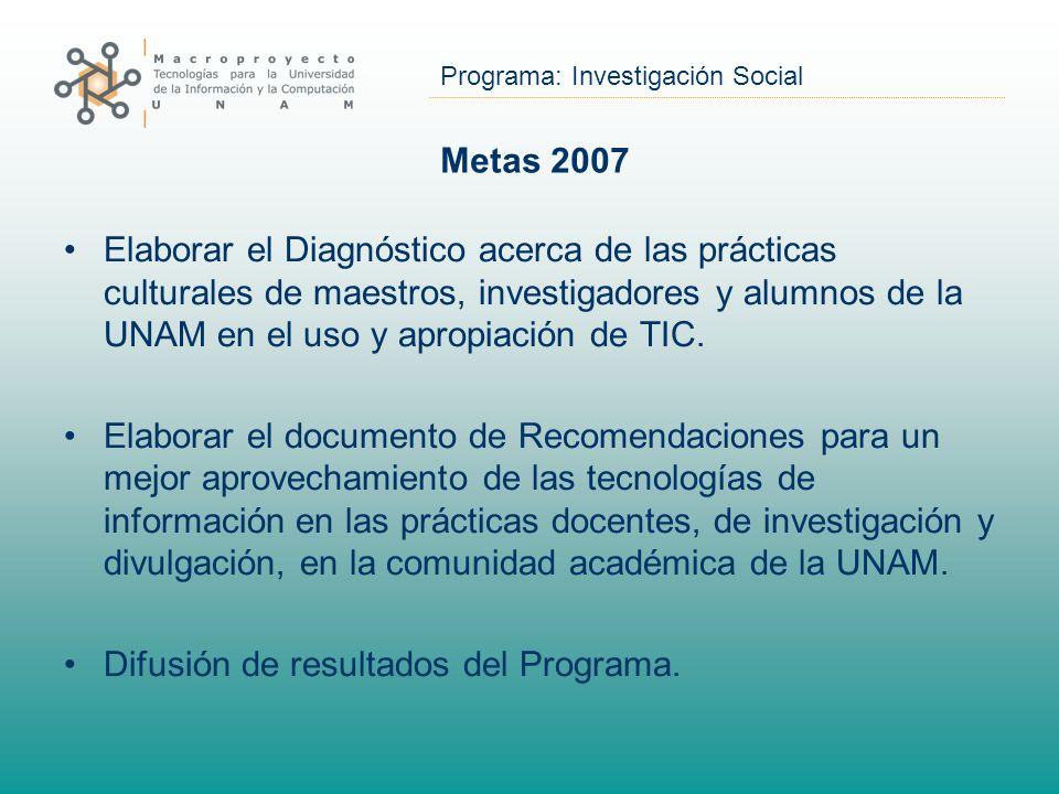Programa: Investigación Social Metas 2007 Elaborar el Diagnóstico acerca de las prácticas culturales de maestros, investigadores y alumnos de la UNAM