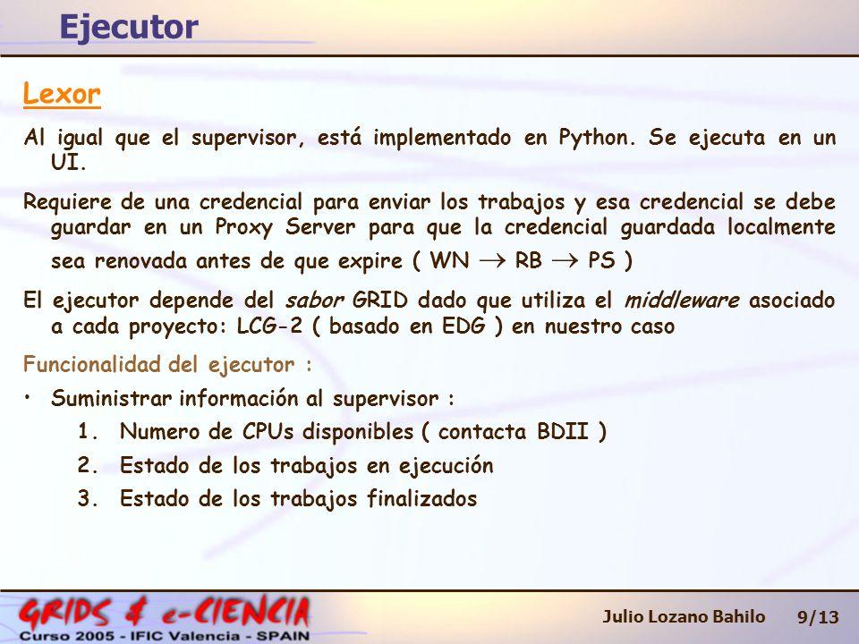 Ejecutor 9/13 Julio Lozano Bahilo Lexor Al igual que el supervisor, está implementado en Python. Se ejecuta en un UI. Requiere de una credencial para