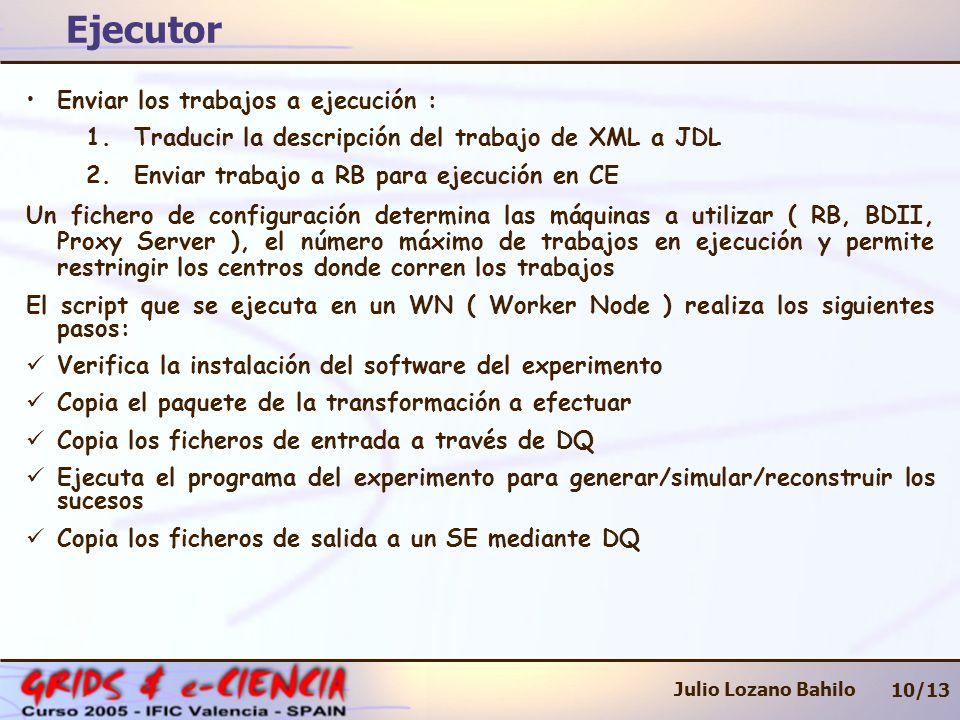 Ejecutor 10/13 Julio Lozano Bahilo Enviar los trabajos a ejecución : 1.Traducir la descripción del trabajo de XML a JDL 2.Enviar trabajo a RB para ejecución en CE Un fichero de configuración determina las máquinas a utilizar ( RB, BDII, Proxy Server ), el número máximo de trabajos en ejecución y permite restringir los centros donde corren los trabajos El script que se ejecuta en un WN ( Worker Node ) realiza los siguientes pasos: Verifica la instalación del software del experimento Copia el paquete de la transformación a efectuar Copia los ficheros de entrada a través de DQ Ejecuta el programa del experimento para generar/simular/reconstruir los sucesos Copia los ficheros de salida a un SE mediante DQ