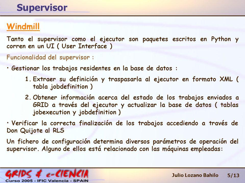 Supervisor 5/13 Julio Lozano Bahilo Windmill Tanto el supervisor como el ejecutor son paquetes escritos en Python y corren en un UI ( User Interface ) Funcionalidad del supervisor : Gestionar los trabajos residentes en la base de datos : 1.Extraer su definición y traspasarla al ejecutor en formato XML ( tabla jobdefinition ) 2.Obtener información acerca del estado de los trabajos enviados a GRID a través del ejecutor y actualizar la base de datos ( tablas jobexecution y jobdefinition ) Verificar la correcta finalización de los trabajos accediendo a través de Don Quijote al RLS Un fichero de configuración determina diversos parámetros de operación del supervisor.