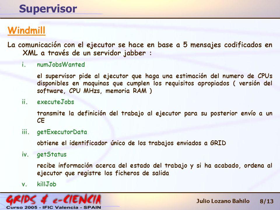 Supervisor 8/13 Julio Lozano Bahilo Windmill La comunicación con el ejecutor se hace en base a 5 mensajes codificados en XML a través de un servidor jabber : i.numJobsWanted el supervisor pide al ejecutor que haga una estimación del numero de CPUs disponibles en maquinas que cumplen los requisitos apropiados ( versión del software, CPU MHzs, memoria RAM ) ii.executeJobs transmite la definición del trabajo al ejecutor para su posterior envío a un CE iii.getExecutorData obtiene el identificador único de los trabajos enviados a GRID iv.getStatus recibe información acerca del estado del trabajo y si ha acabado, ordena al ejecutor que registre los ficheros de salida v.killJob