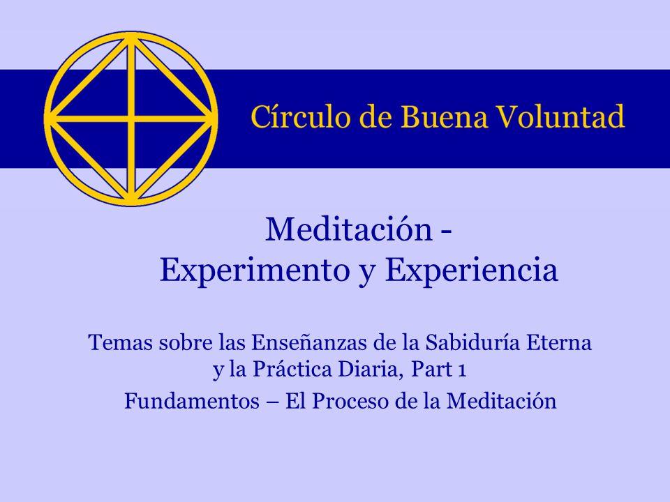 Temas sobre las Enseñanzas de la Sabiduría Eterna y la Práctica Diaria, Part 1 Fundamentos – El Proceso de la Meditación Meditación - Experimento y Ex