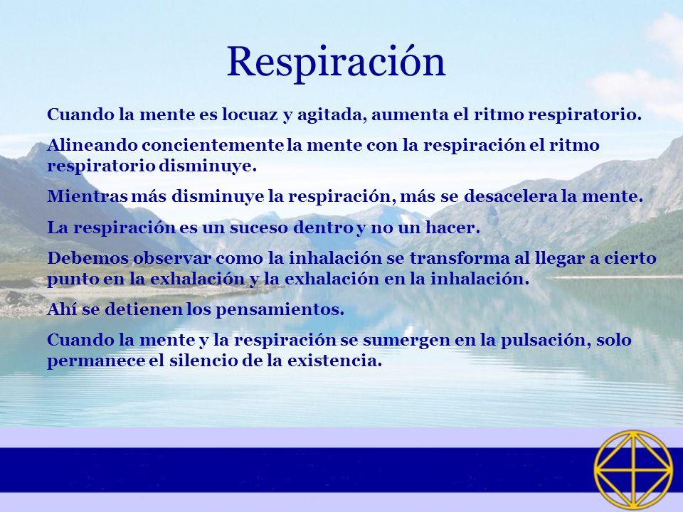 Respiración Cuando la mente es locuaz y agitada, aumenta el ritmo respiratorio. Alineando concientemente la mente con la respiración el ritmo respirat
