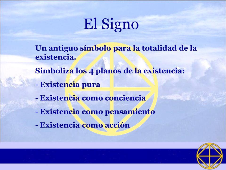 El Signo Un antiguo símbolo para la totalidad de la existencia. Simboliza los 4 planos de la existencia: - Existencia pura - Existencia como concienci
