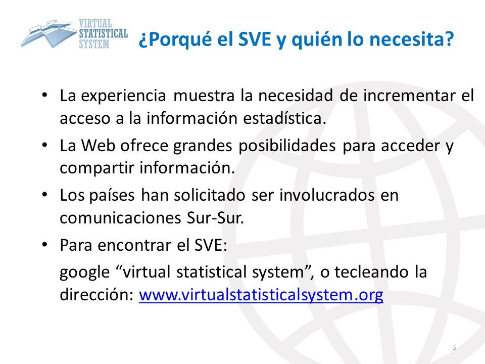 ¿Porqué el SVE y quién lo necesita? La experiencia muestra la necesidad de incrementar el acceso a la información estadística. La Web ofrece grandes p