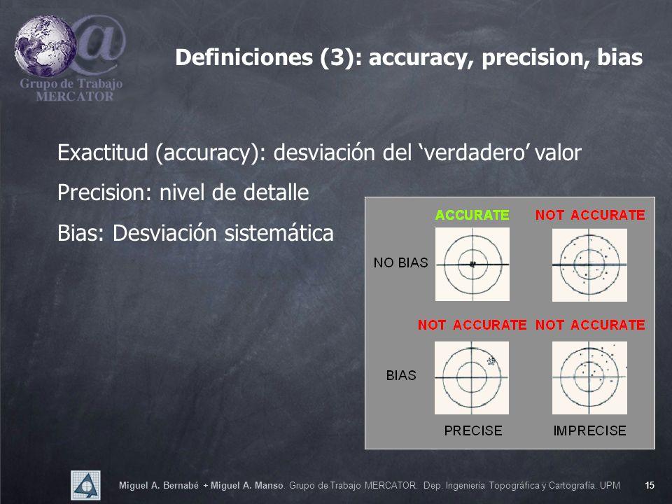 Miguel A. Bernabé + Miguel A. Manso. Grupo de Trabajo MERCATOR. Dep. Ingeniería Topográfica y Cartografía. UPM15 Exactitud (accuracy): desviación del
