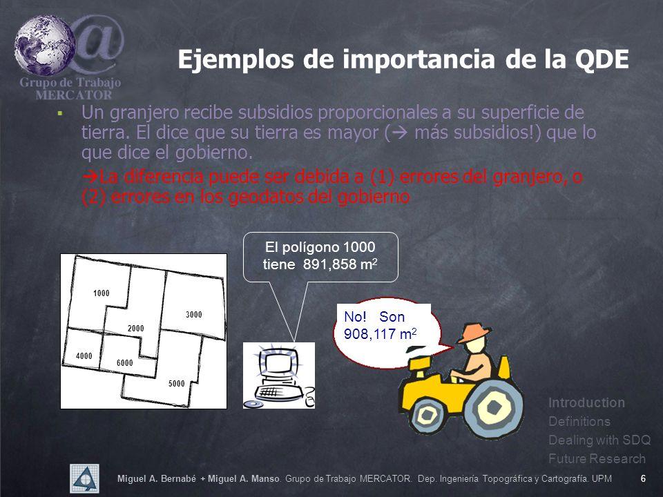 Miguel A. Bernabé + Miguel A. Manso. Grupo de Trabajo MERCATOR. Dep. Ingeniería Topográfica y Cartografía. UPM6 Ejemplos de importancia de la QDE Un g