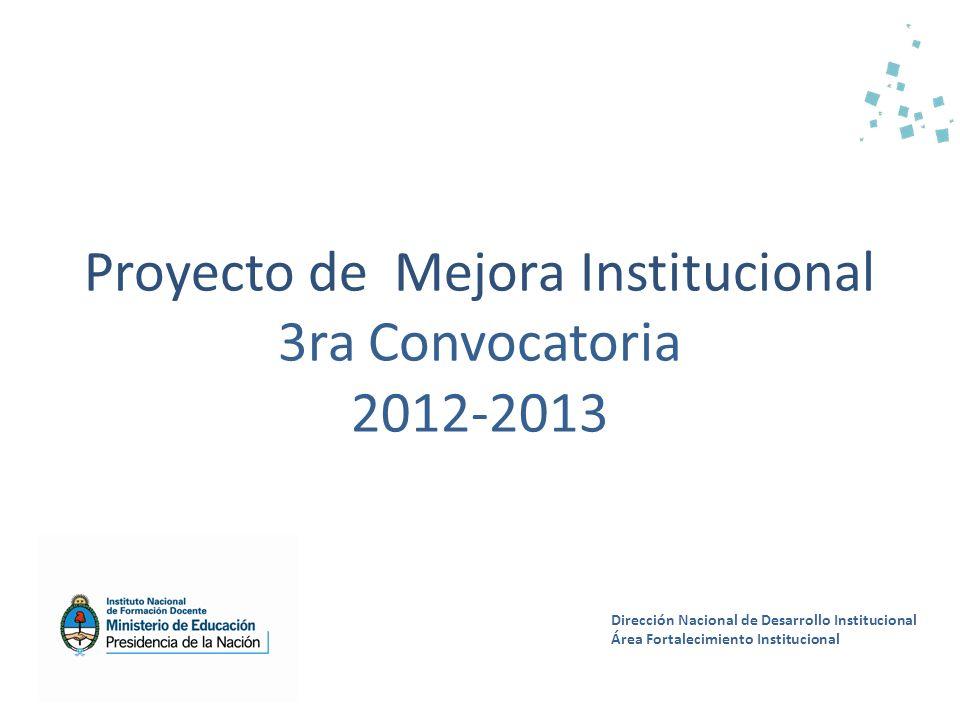Proyecto de Mejora Institucional 3ra Convocatoria 2012-2013 Dirección Nacional de Desarrollo Institucional Área Fortalecimiento Institucional