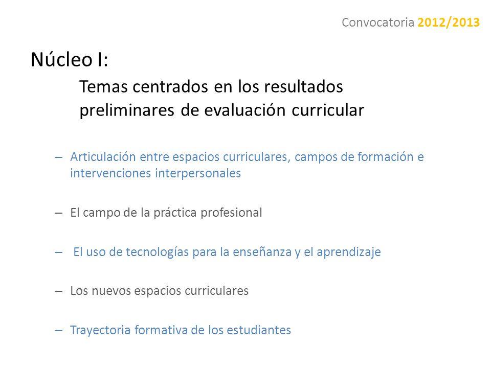 Núcleo I: Temas centrados en los resultados preliminares de evaluación curricular – Articulación entre espacios curriculares, campos de formación e in