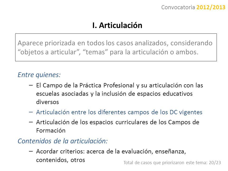 I. Articulación Aparece priorizada en todos los casos analizados, considerando objetos a articular, temas para la articulación o ambos. Entre quienes: