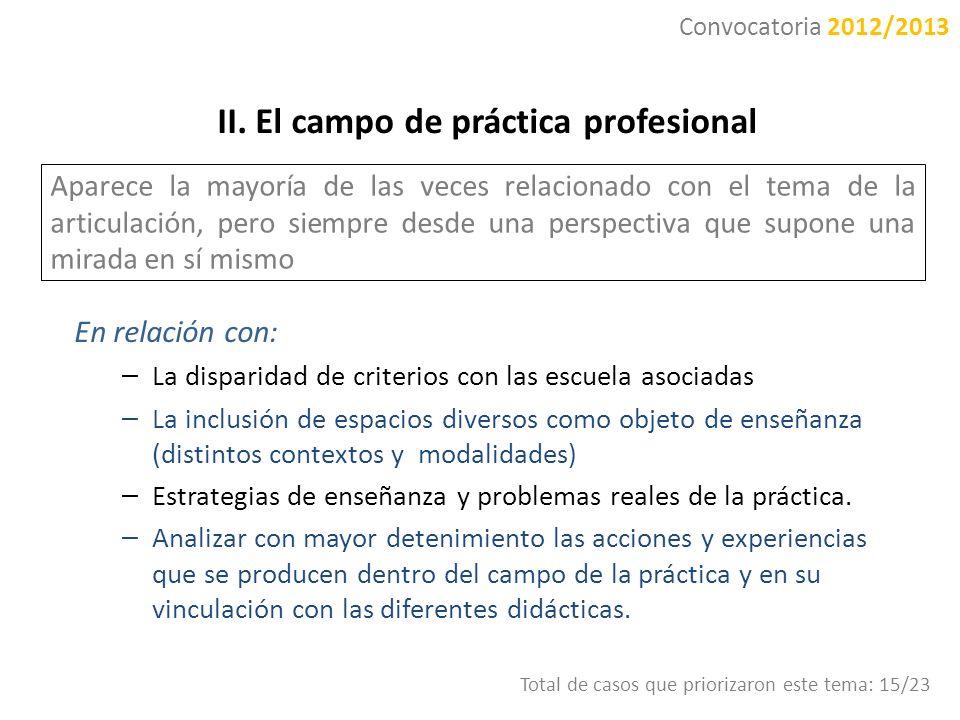 II. El campo de práctica profesional Aparece la mayoría de las veces relacionado con el tema de la articulación, pero siempre desde una perspectiva qu