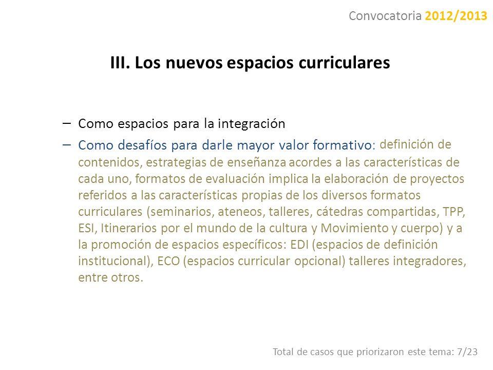 III. Los nuevos espacios curriculares – Como espacios para la integración – Como desafíos para darle mayor valor formativo: definición de contenidos,