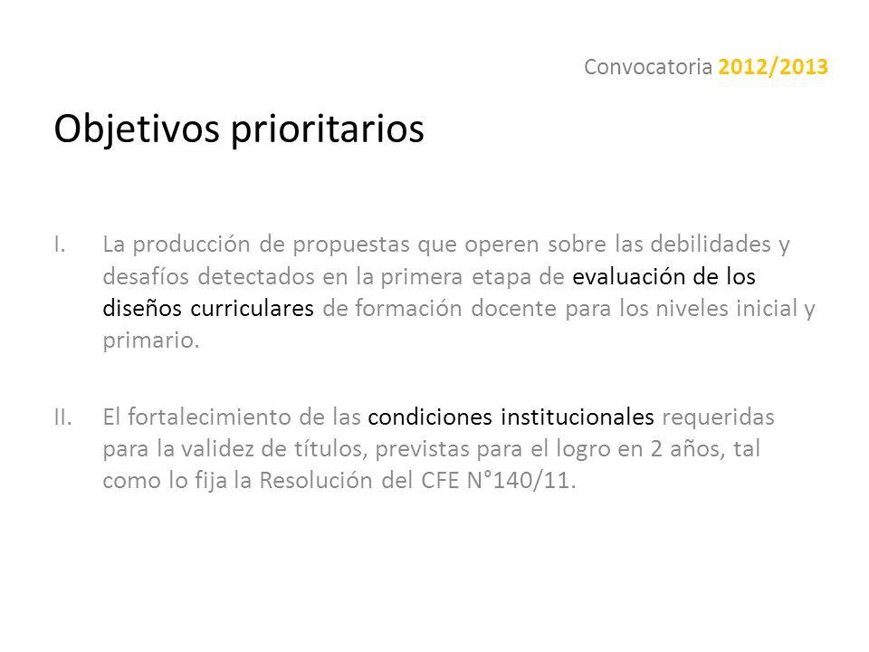 Objetivos prioritarios I.La producción de propuestas que operen sobre las debilidades y desafíos detectados en la primera etapa de evaluación de los d