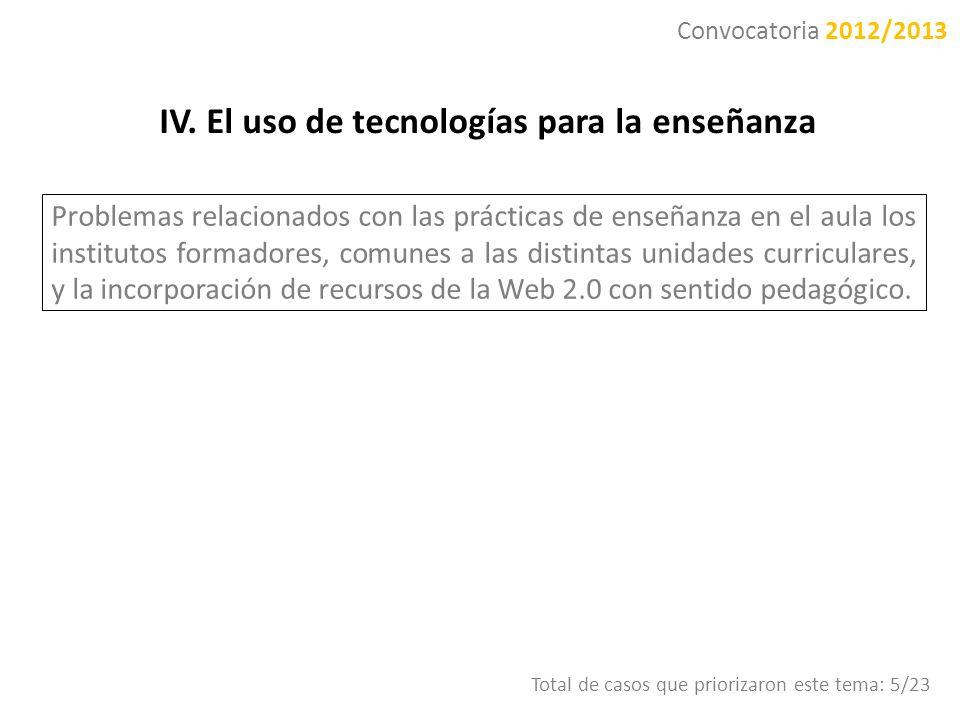 IV. El uso de tecnologías para la enseñanza Problemas relacionados con las prácticas de enseñanza en el aula los institutos formadores, comunes a las