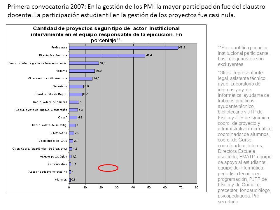 Primera convocatoria 2007: En la gestión de los PMI la mayor participación fue del claustro docente. La participación estudiantil en la gestión de los
