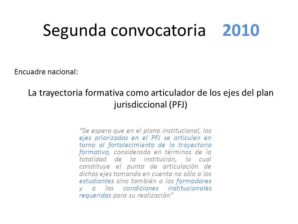 Segunda convocatoria 2010 Se espera que en el plano institucional, los ejes priorizados en el PFJ se articulen en torno al fortalecimiento de la traye