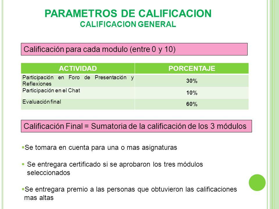 PARAMETROS DE CALIFICACION CALIFICACION GENERAL ACTIVIDADPORCENTAJE Participación en Foro de Presentación y Reflexiones 30% Participación en el Chat 1