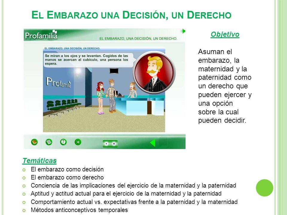 E L E MBARAZO UNA D ECISIÓN, UN D ERECHO Temáticas El embarazo como decisión El embarazo como derecho Conciencia de las implicaciones del ejercicio de